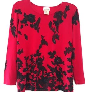 Black lace red sequin sweater blouse